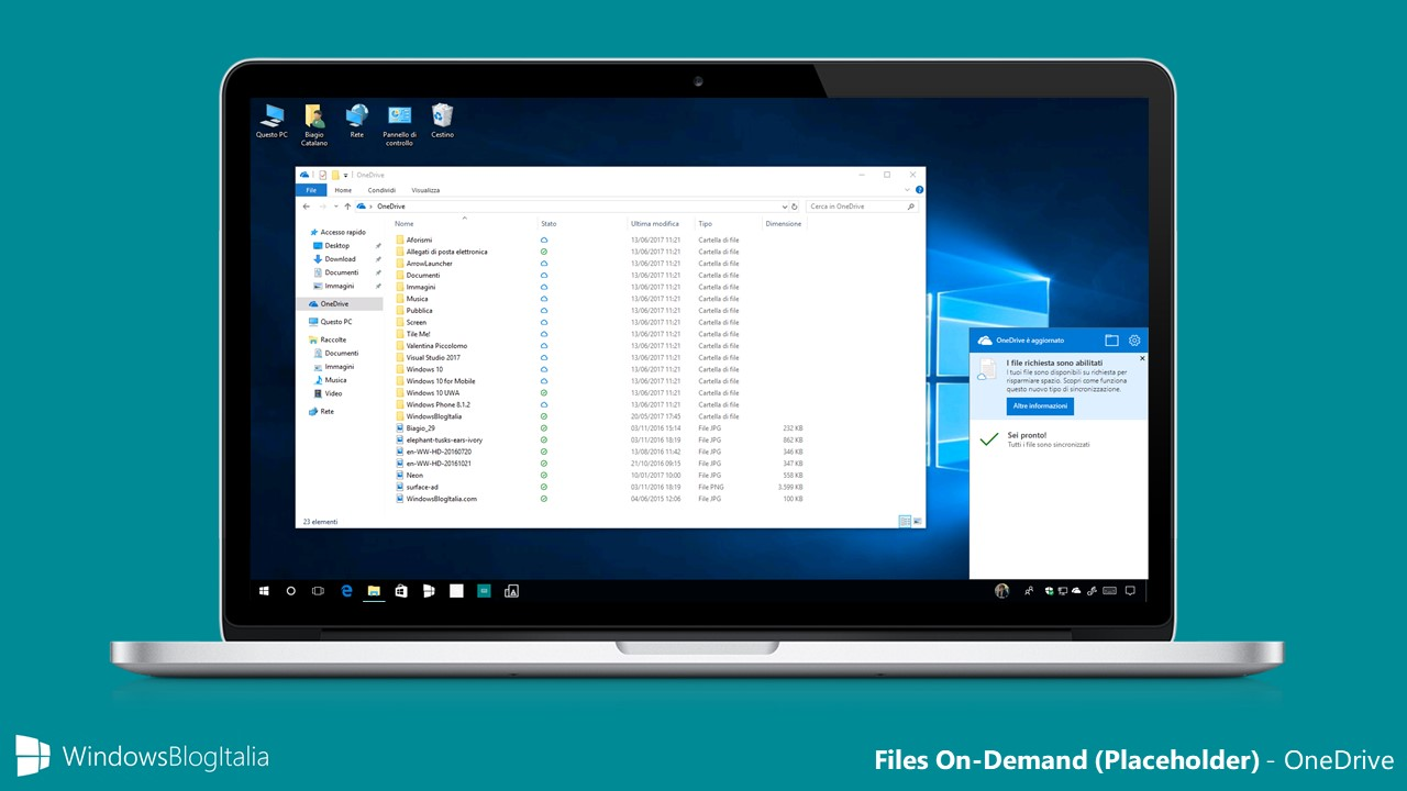 Files On-Demand (placeholder) di OneDrive in Windows 10