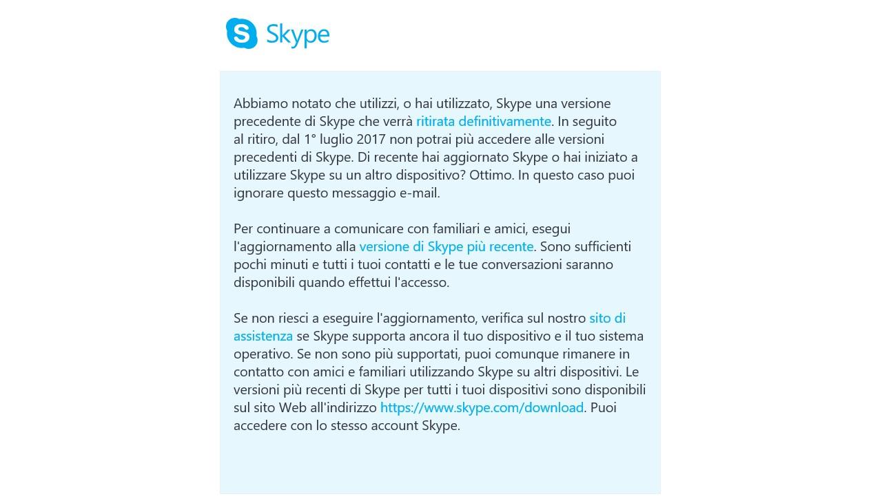 Skype accesso non disponibile vecchie versioni email