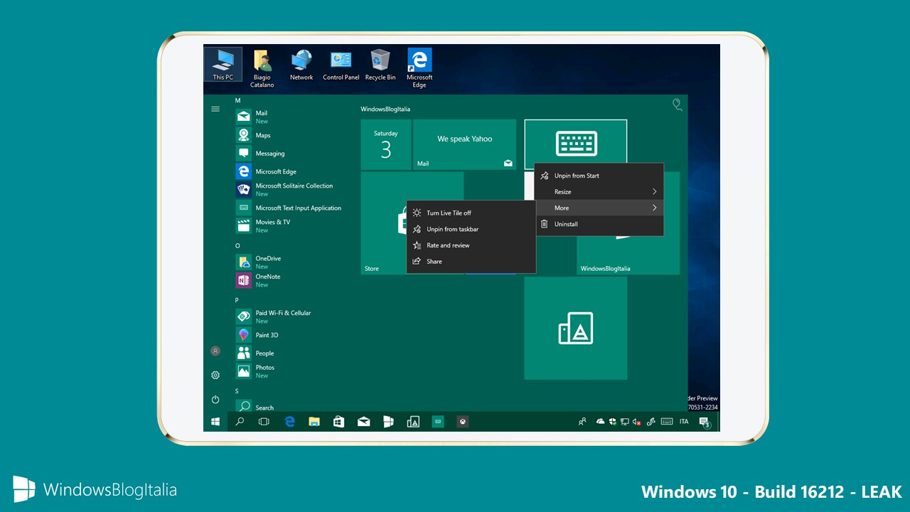 Windows 10 Build 16212