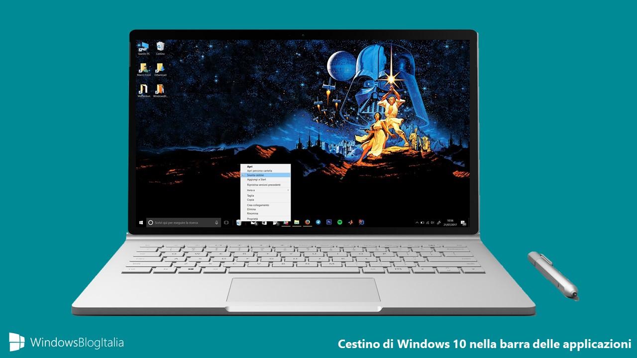 Cestino di Windows 10 barra delle applicazioni