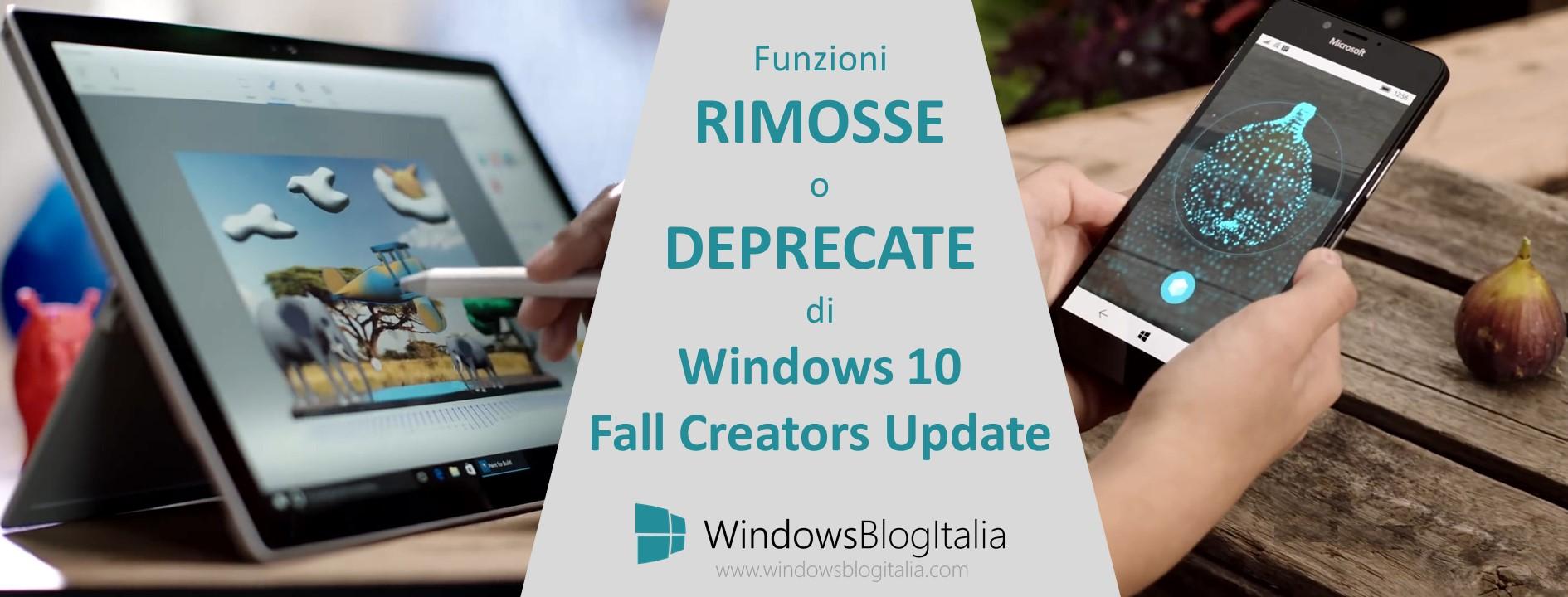 Funzioni rimosse o deprecate Windows 10 Fall Creators Update