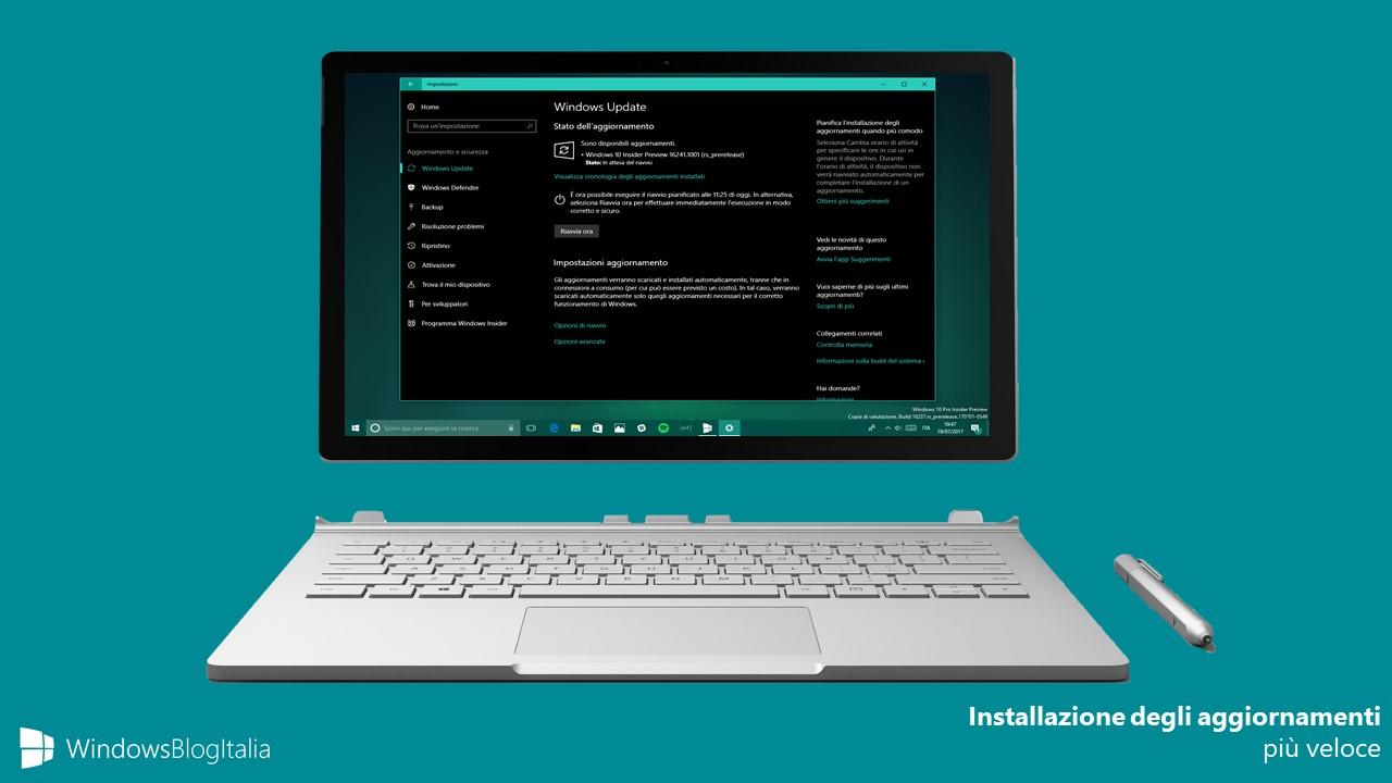 Installazione aggiornamenti veloce Windows 10 Windows Update Insider
