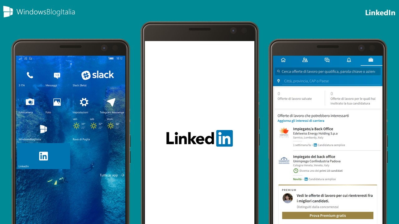 Anteprima e download di LinkedIn per Windows 10 Mobile