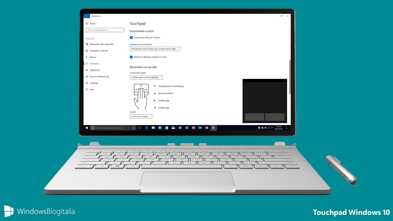 Personalizzare il touchpad nei PC e tablet Windows 10
