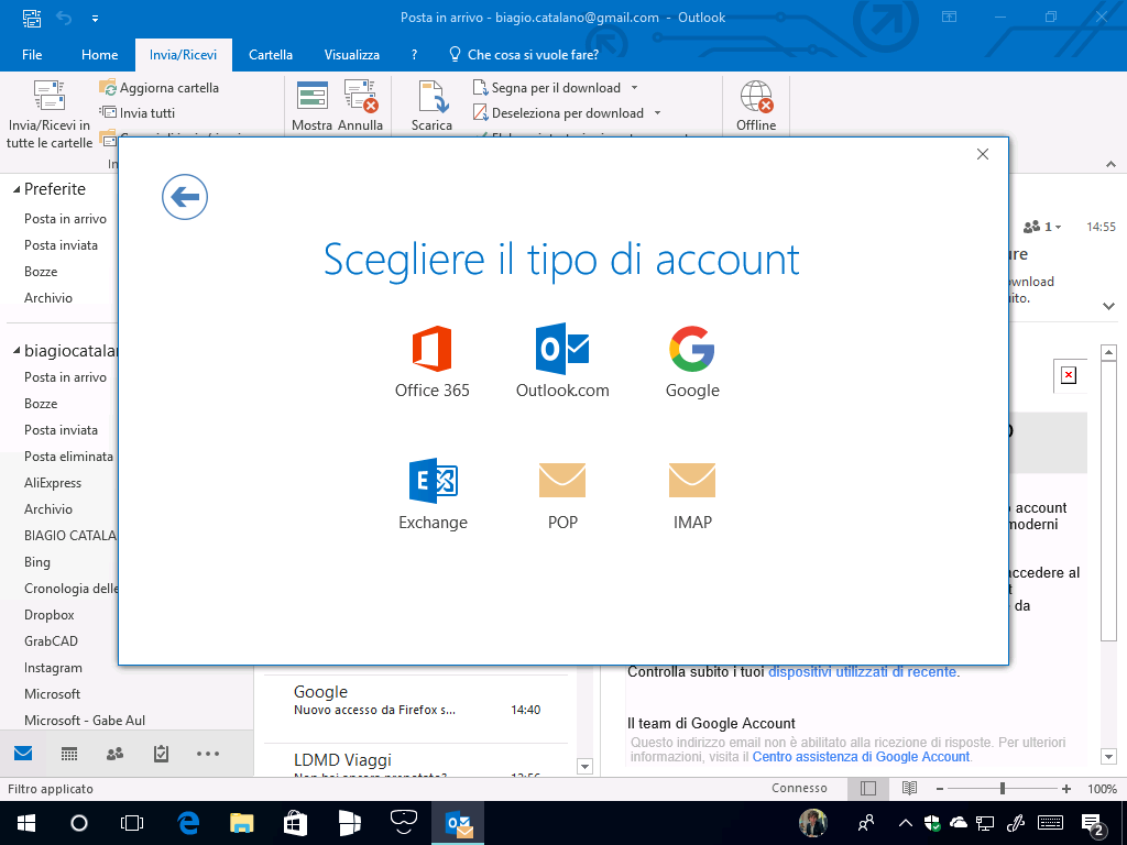 how to close outlook account 2016