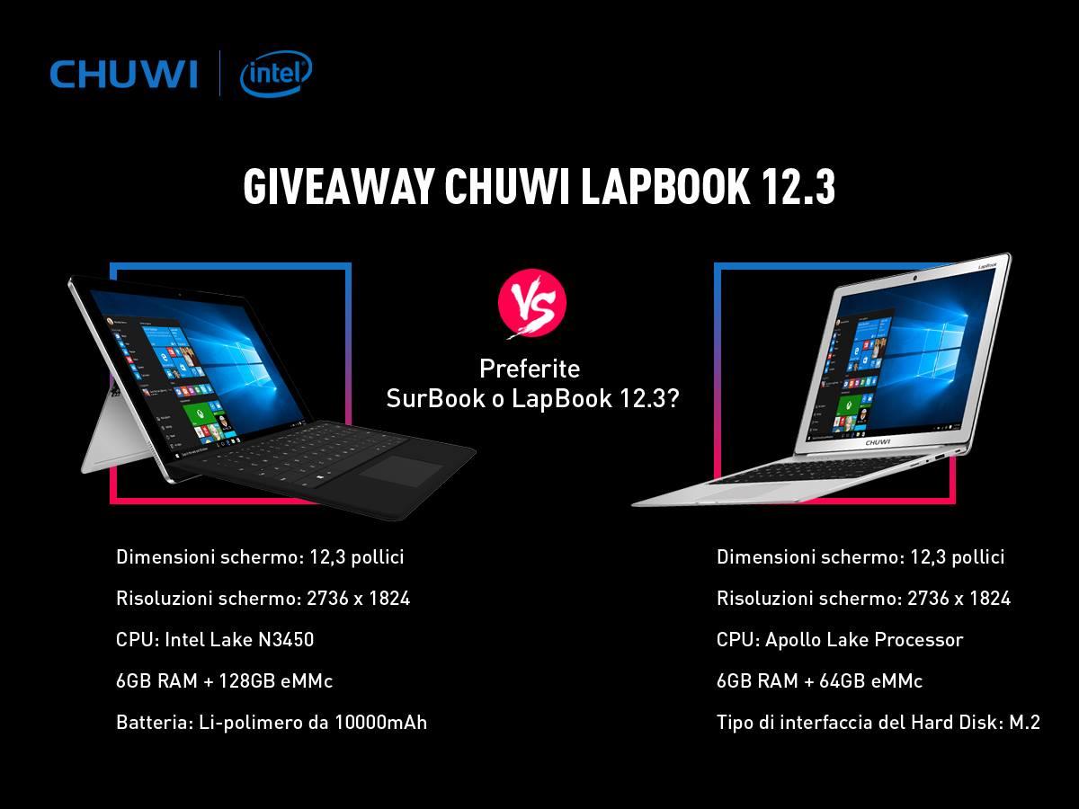 356b3393b0da4a Chuwi ha organizzato un contest mettendo in palio il nuovo portatile  LapBook 12.3 con Windows 10, di cui vi abbiamo già parlato qualche  settimana fa.