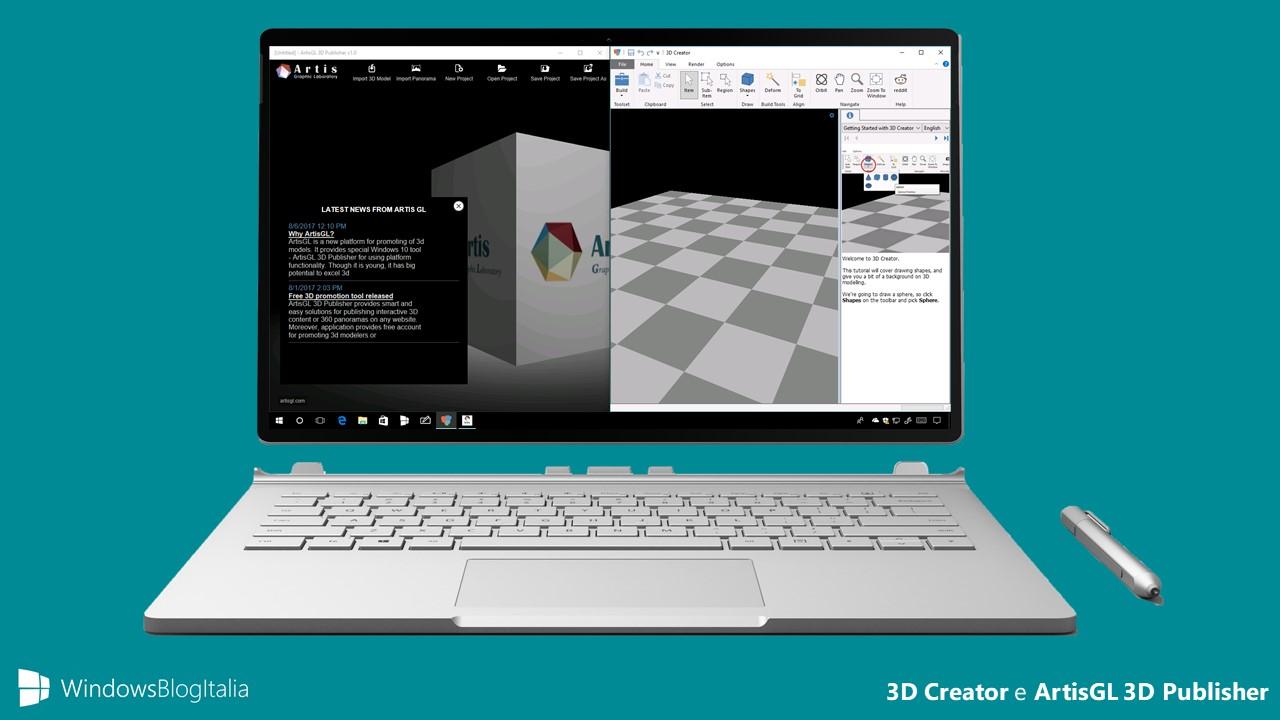 3D Creator e ArtisGL 3D Publisher, due nuove app per la modellazione 3D