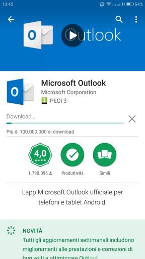 Aggiornamento di Outlook per Android