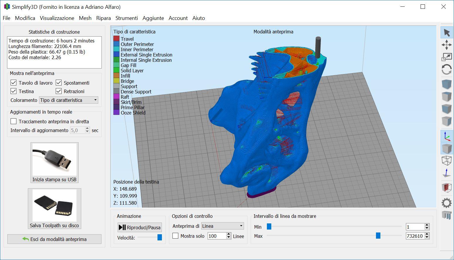 Anteprima GCODE Simplify3D