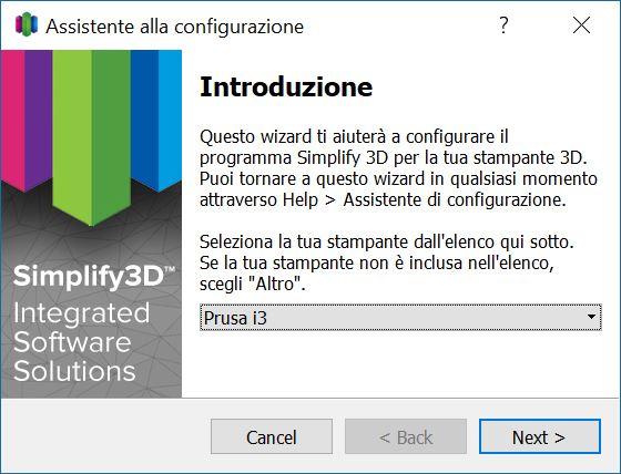Assistente alla configurazione in Simplify3D