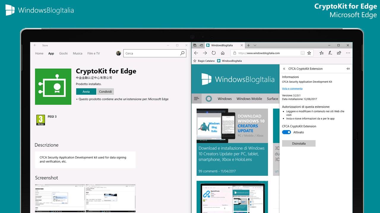 Disponibile l'estensione CryptoKit per Microsoft Edge