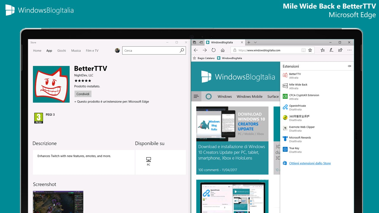 Mile Wide Back e BetterTTV, due nuove estensioni per Microsoft Edge