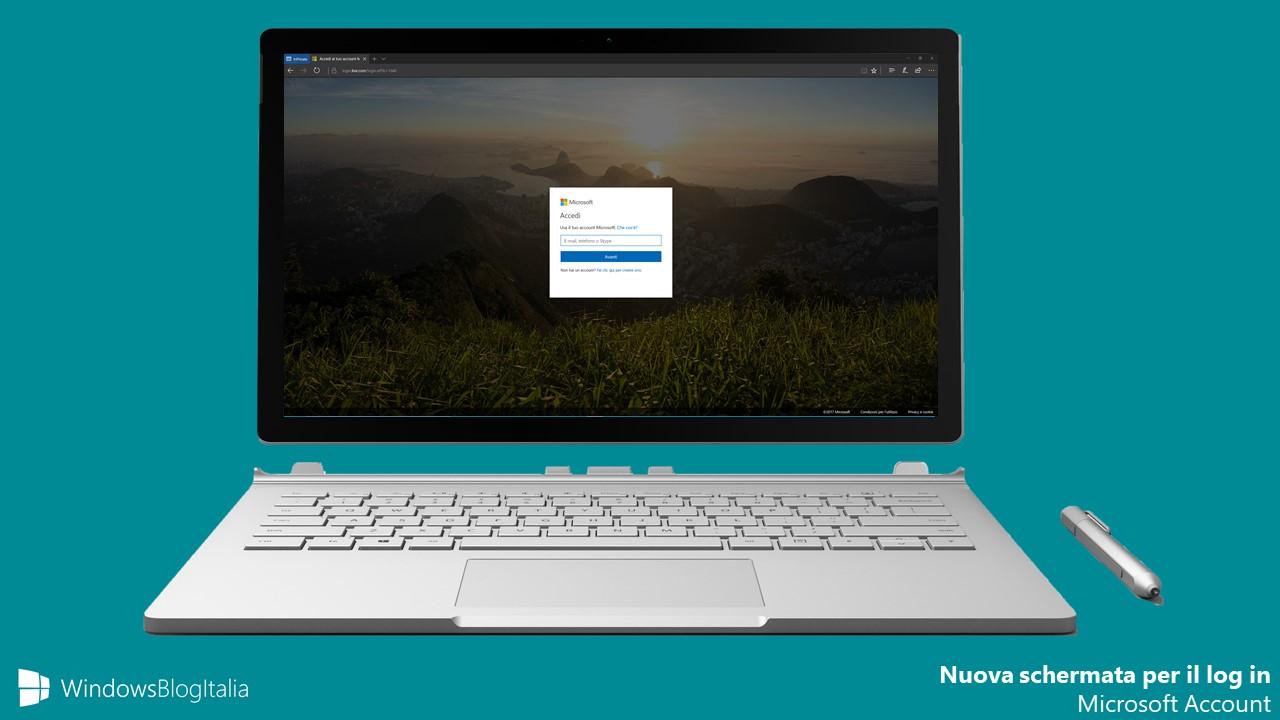 Nuova schermata log in Microsoft Account