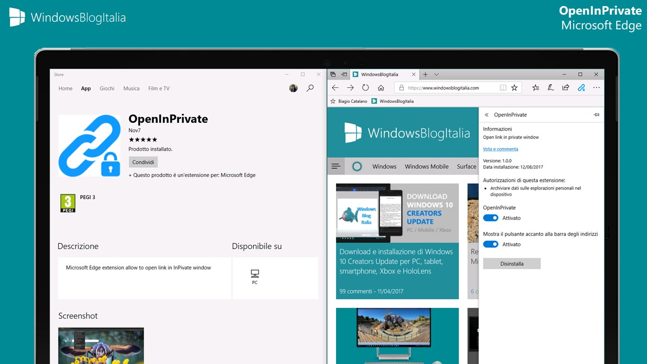 Disponibile l'estensione OpenInPrivate per Microsoft Edge