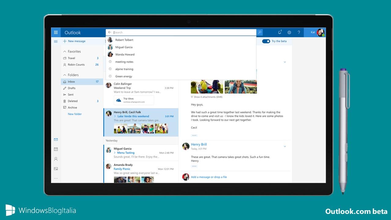 Nuovo look e nuove funzionalità in arrivo in Outlook.com