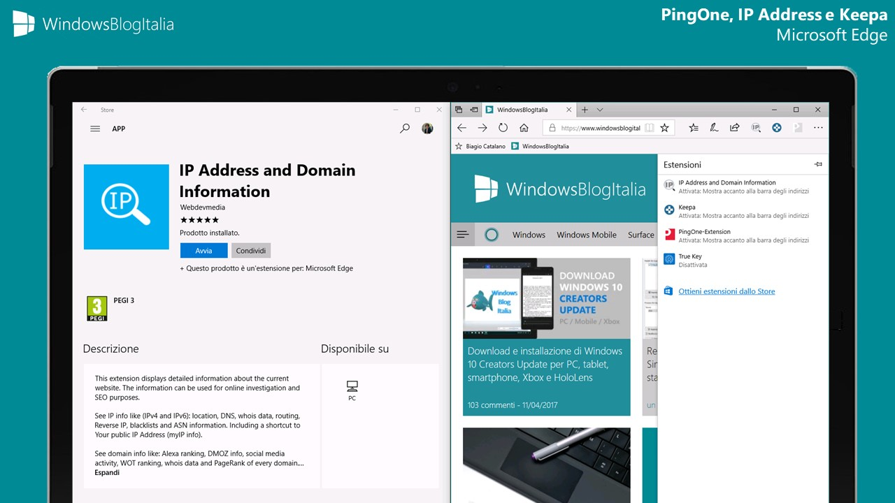 PingOne Extension, IP Address and Domain Information e Keepa per Microsoft Edge