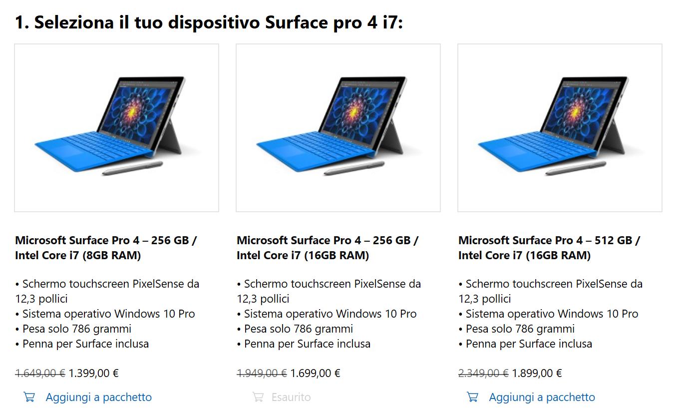 Promozione Surface Pro 4