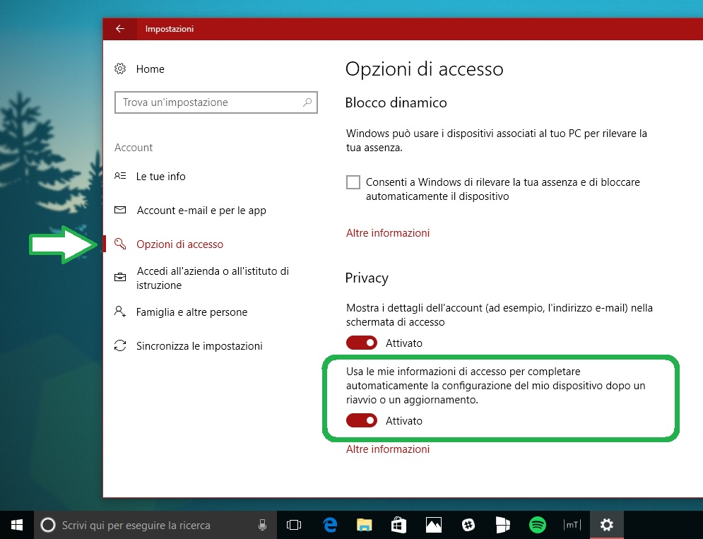 Disabilitare app aperte riavvio Windows 10 Fall Creators Update