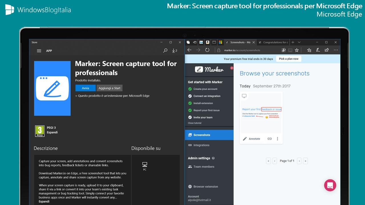 Marker estensione browser Edge