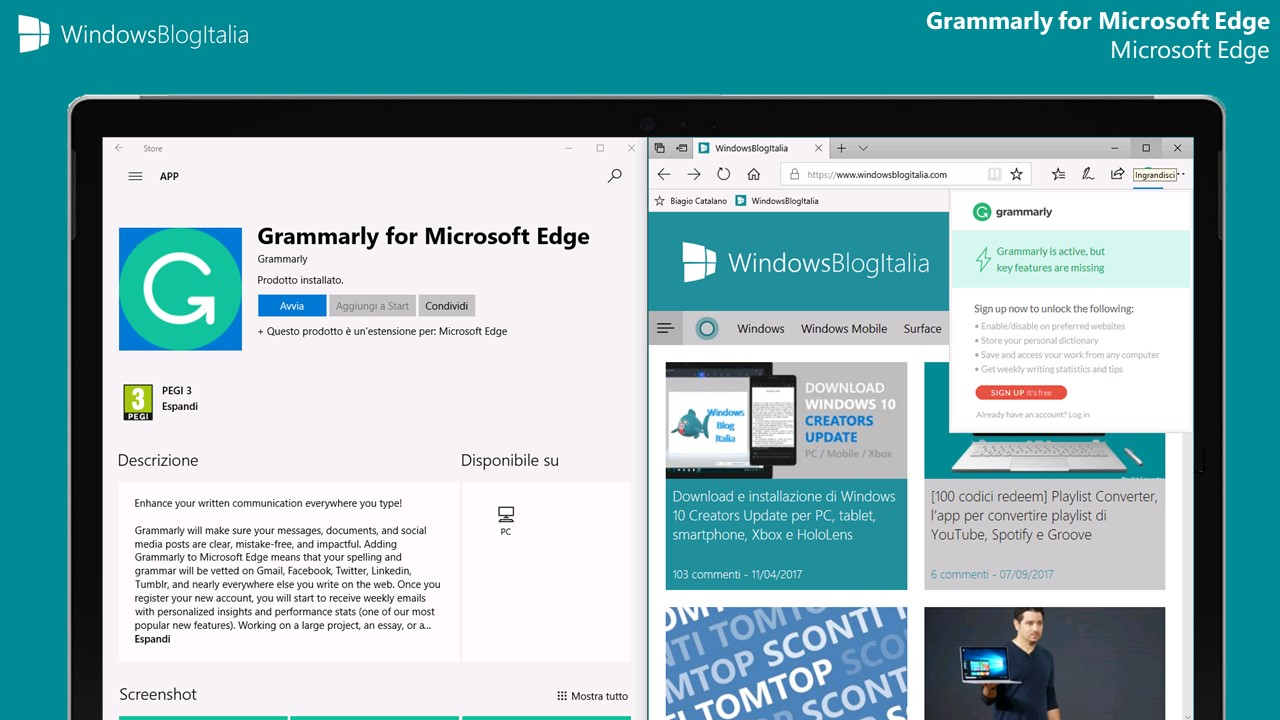 Grammarly for Microsoft Edge