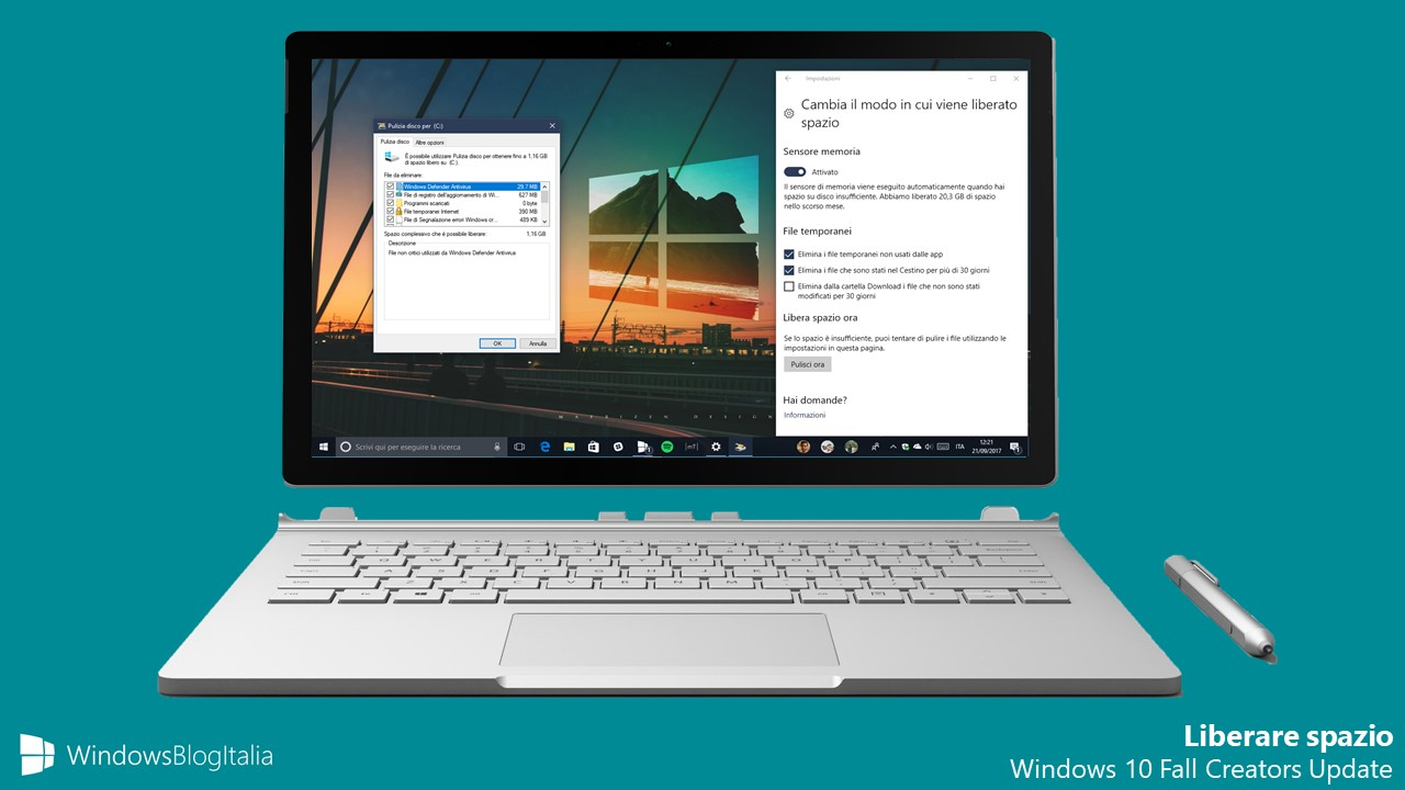 Liberare spazio Windows 10 Fall Creators Update