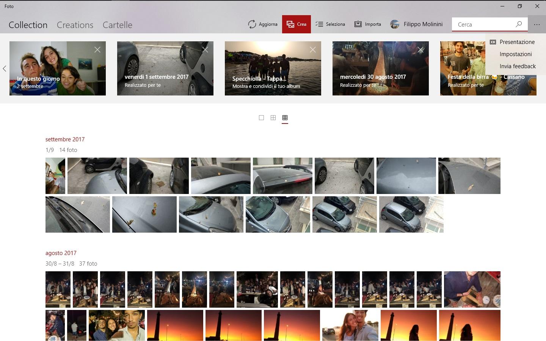Microsoft Foto RS4 barra scopri ricerca intelligente pulsante crea