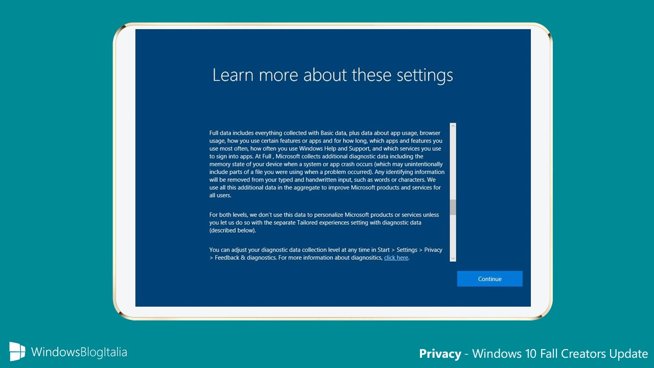 Nuove opzioni per la privacy in Windows 10 Fall Creators Update