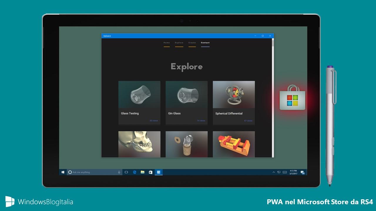 PWA Microsoft Store Windows 10 Redstone 4