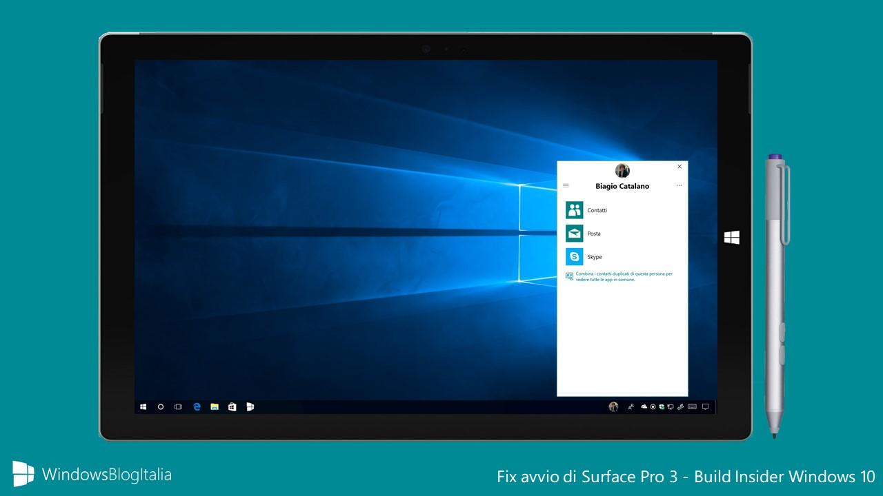 Fix avvio di Surface Pro 3 dopo aggiornamento ultime build Insider di Windows 10