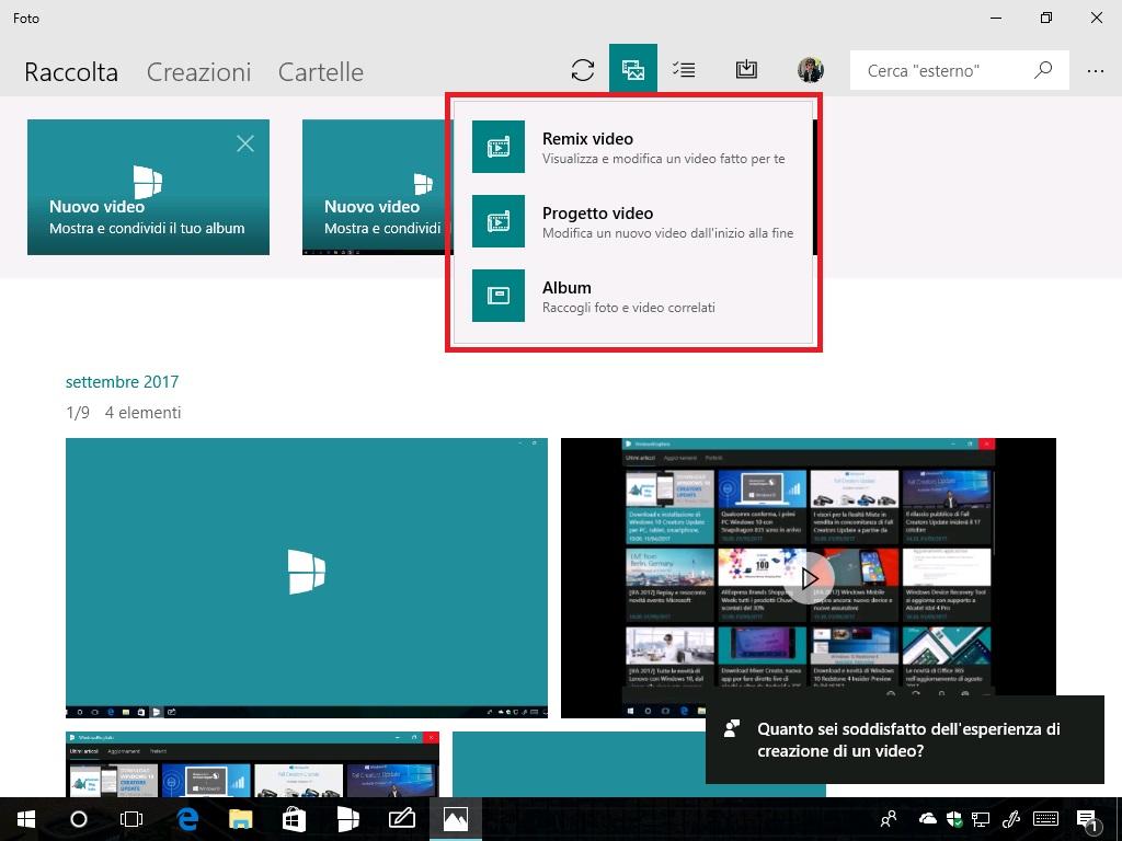 Pulsante Microsoft Foto aggiornamento sezioni