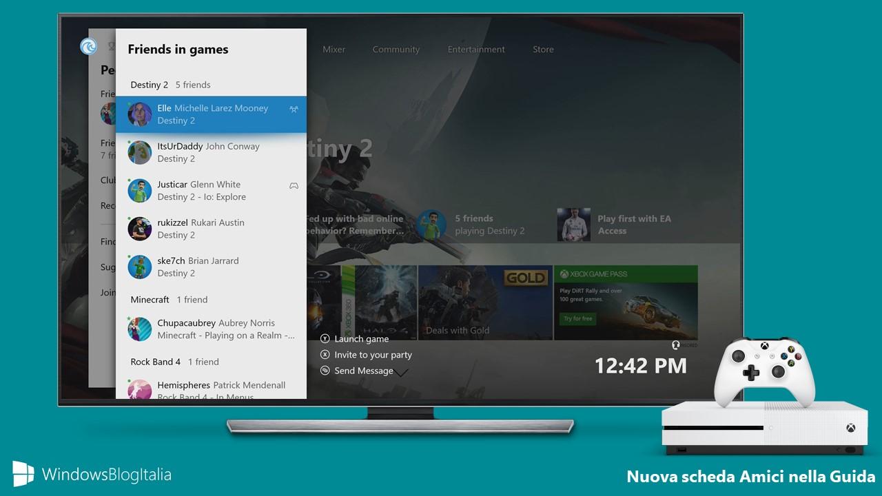 Scheda amici trasferimento veloce app giochi Xbox