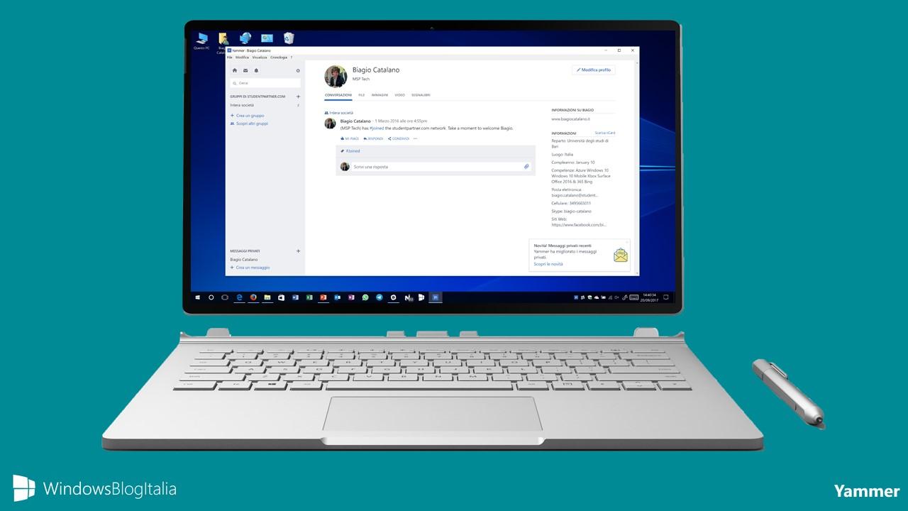 Yammer, l'app del social network aziendale di Microsoft per Windows e Mac