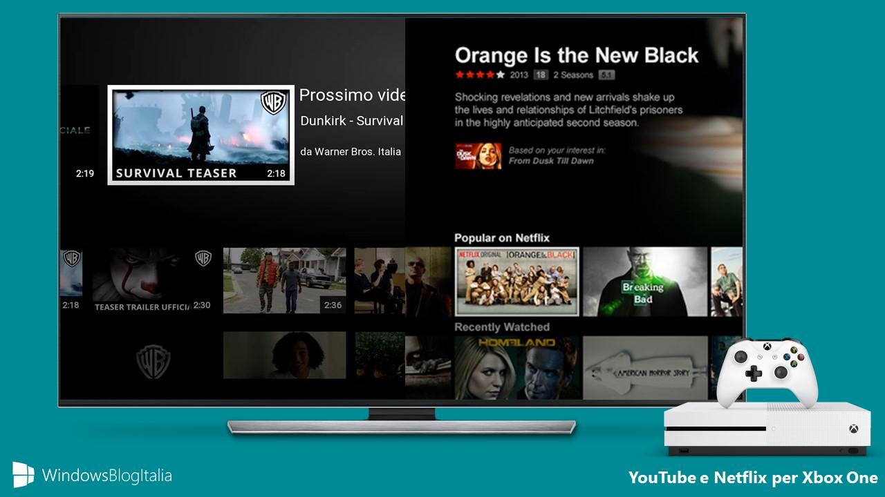 YouTube Netflix Xbox One