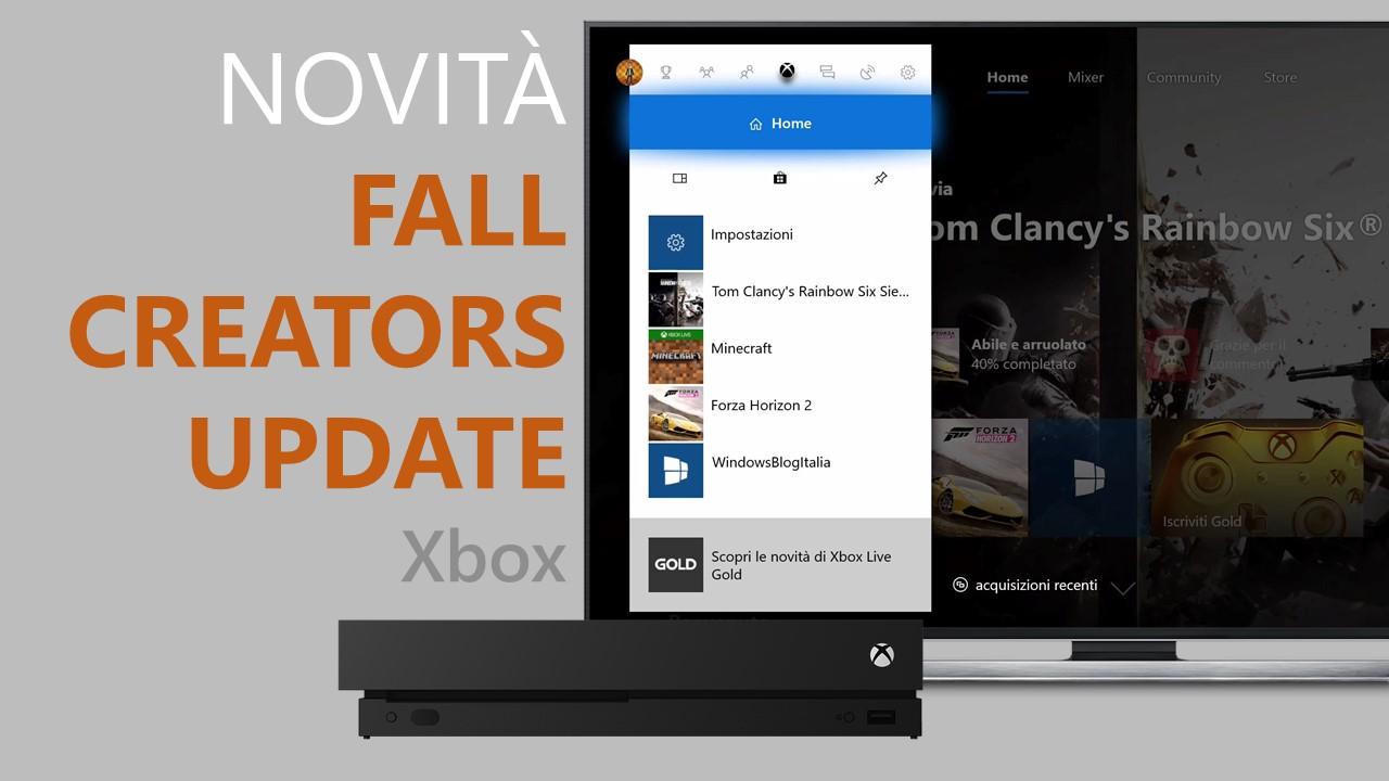 Windows 10 Fall Creators Update per Xbox One