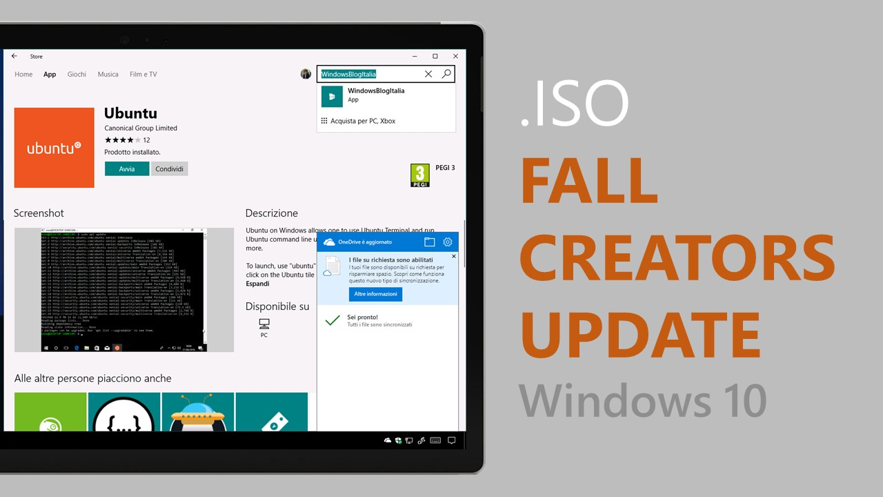 ISO di Windows 10 Fall Creators Update