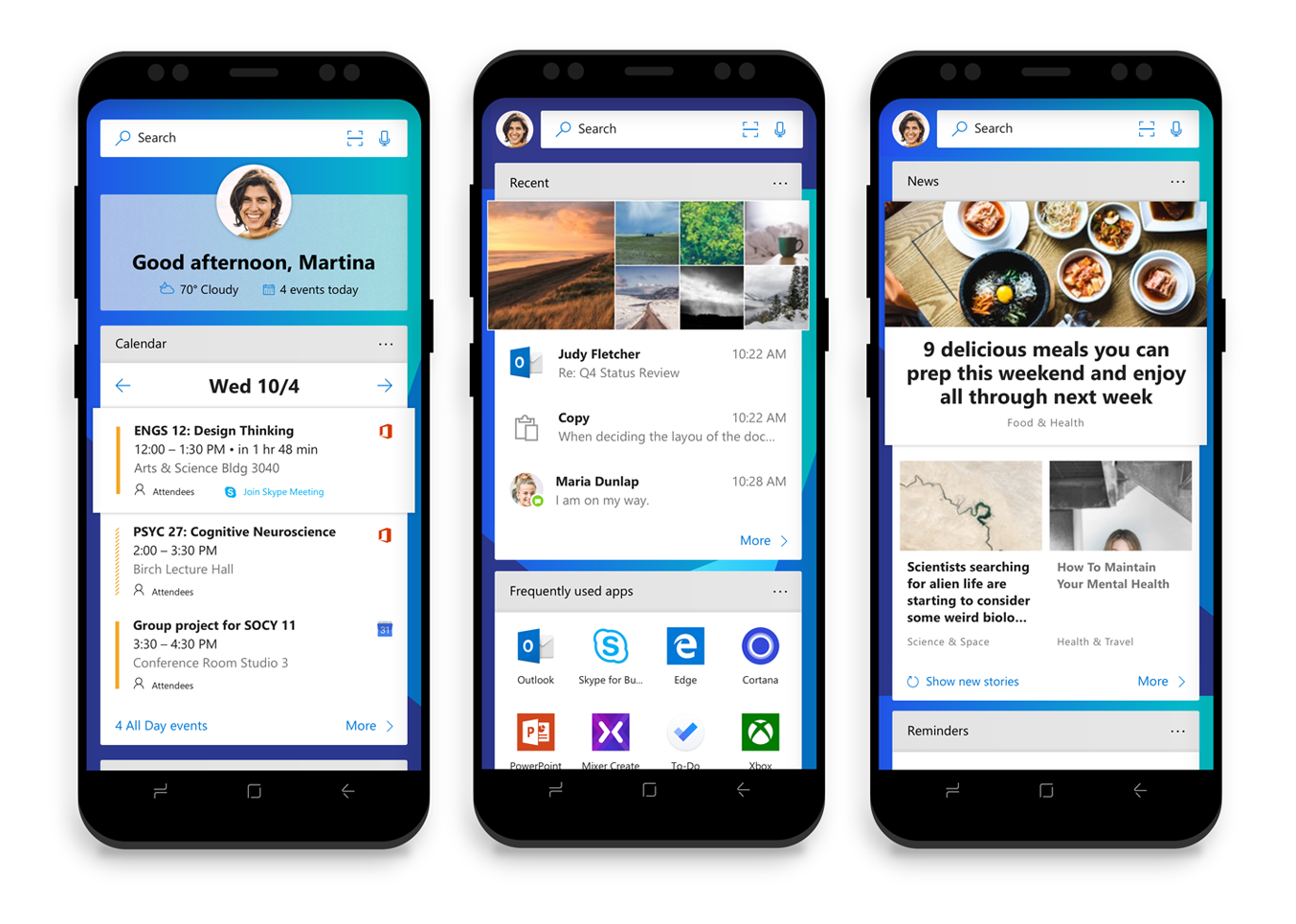 Microsoft Launcher per Android people bar