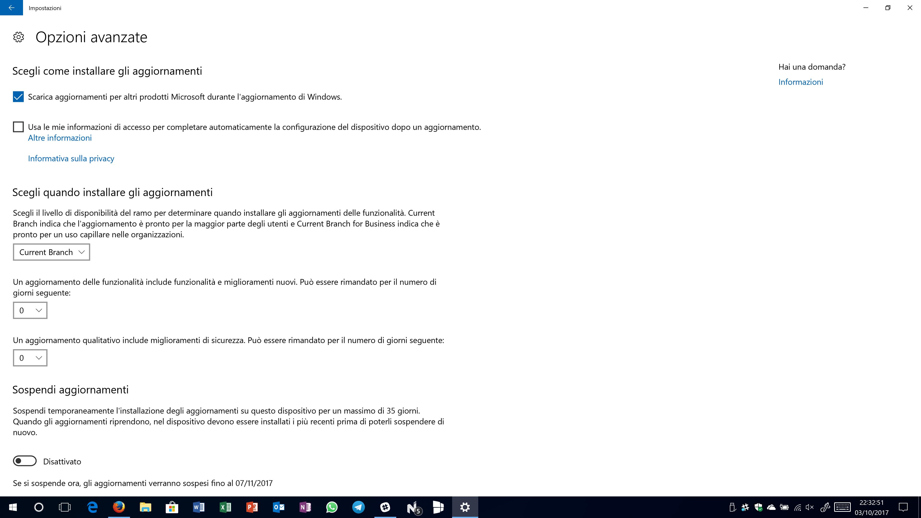 Ritardare aggiornamento Windows 10 April Update