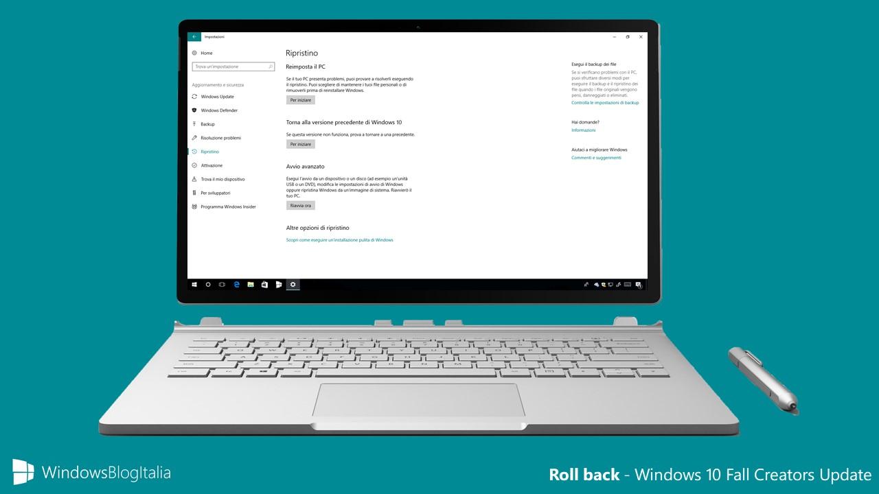 Windows 10 Fall Creators Update non vi piace? Avete 10 giorni per tornare su CU