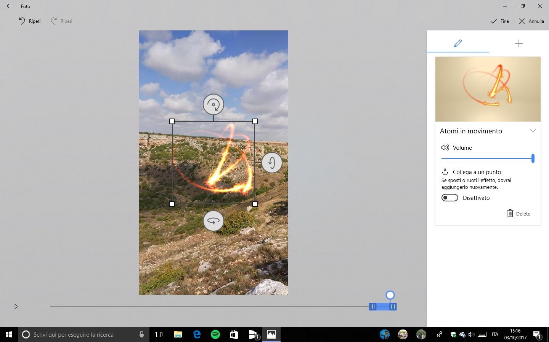 Story Remix Windows 10 Fall Creators Update Effetti 3D modifica dimensioni ruota