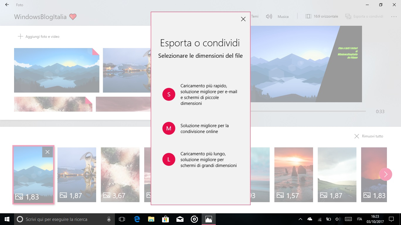 Story Remix Windows 10 Fall Creators Update editor render esportazione condivisione
