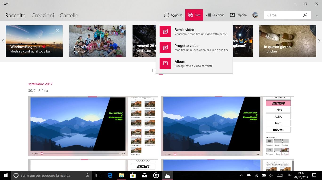 Story Remix Windows 10 Fall Creators Update pulsante Crea