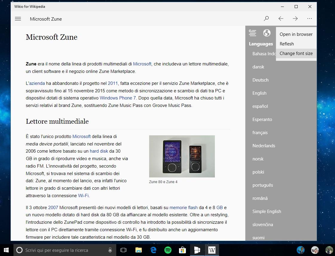 Wikio for Wikipedia app Windows 10