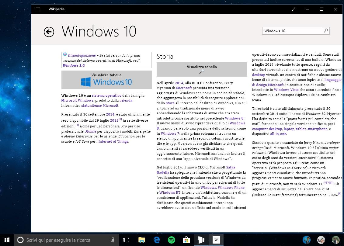 Wikipedia app ufficiale Windows 10