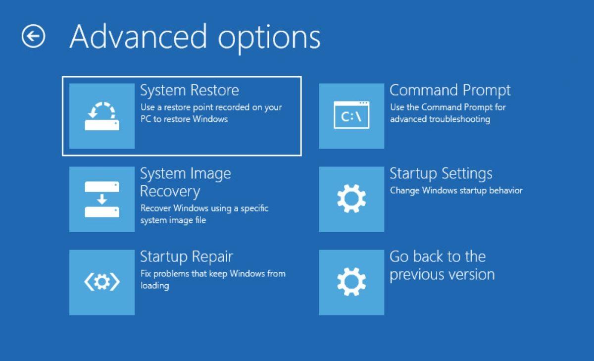 ripristino Windows 10 opzioni avanzate