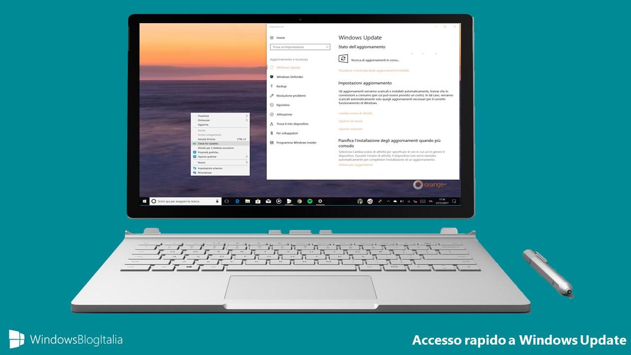 Accesso rapido aggiornamenti Windows Update