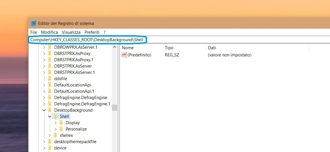 Editor registro di sistema Windows Update menu contestuale 1