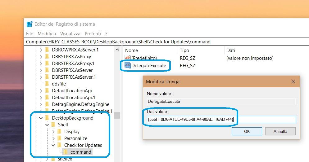 Editor registro di sistema Windows Update menu contestuale 2