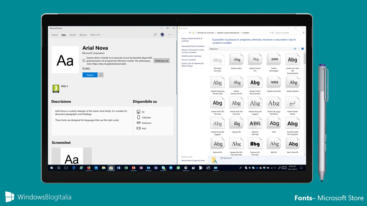 caratteri Microsoft Store