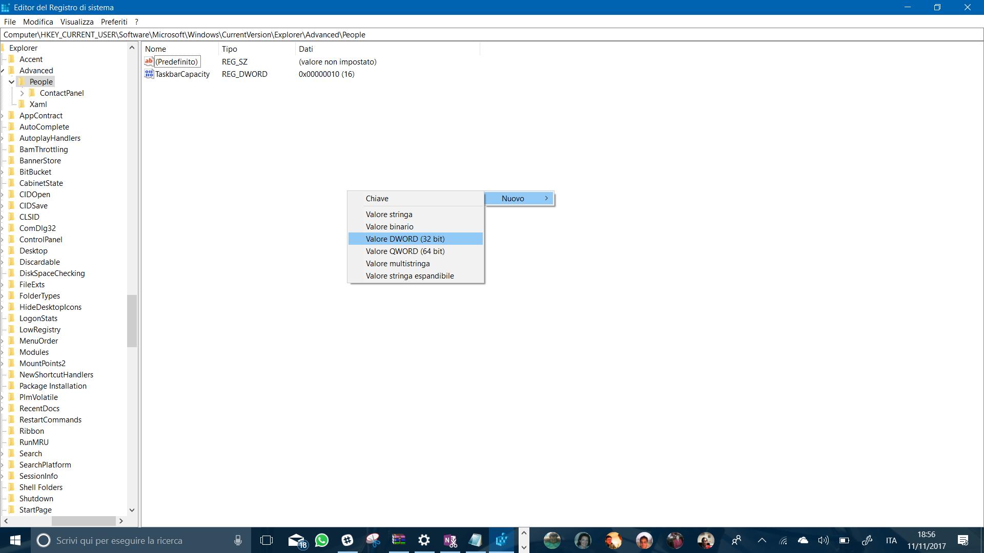 regDWORD taskbar capacity
