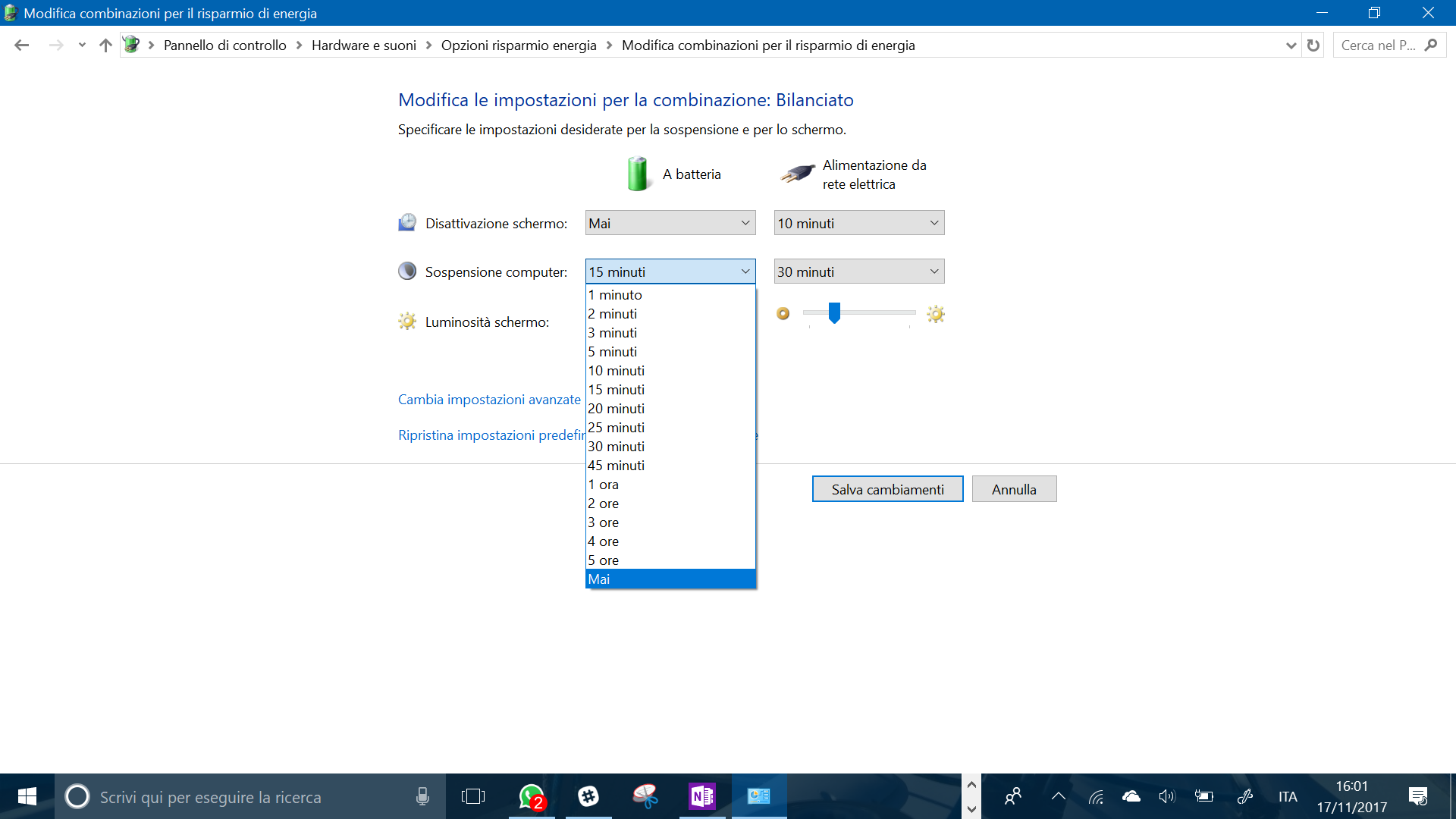 calibrare la batteria del laptop windows 10